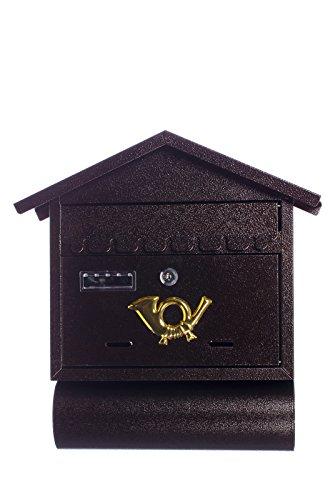 Antiker großer und sehr edler Briefkasten LB-3111 NP Bronze Wandbriefkasten, Briefkasten, Nostalgischer Englischer Briefkasten Metall 40 cm hoch, extra Zeitungsrohr und dicker Briefschlitz (26 x 3 cm) . Mit Befestigungsmaterial für die Wand. mit 2 Schlüsseln , Rostfrei