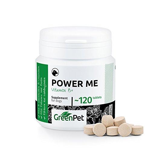 GreenPet Power Me Tabletten für Hunde 120 Stück, Vitamin-B-Komplex Hochdosiert mit 8 B-Vitaminen und Mineralstoffe, Folsäure und Biotin, Reich an Vitamin B-6 und Vitamin B-12, Welpen, Junior, Senior