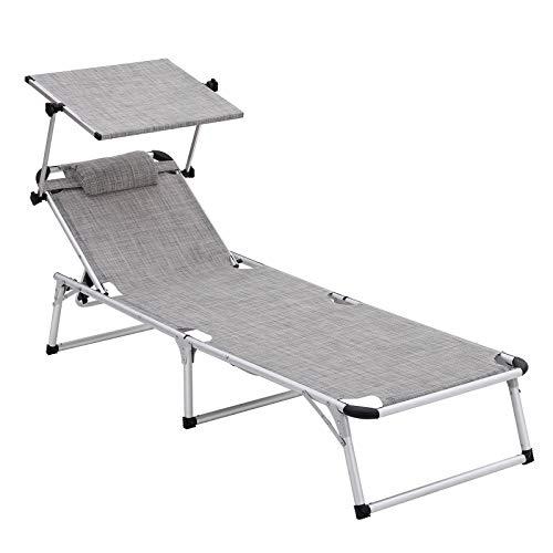 SONGMICS Sonnenliege aus Aluminium, klappbarer Liegestuhl, 193 x 67 x 32 cm, 250 kg max. statische Belastbarkeit, Kunstfasergewebe, Kopfkissen abnehmbar, Sonnendach verstellbar GCB19TG