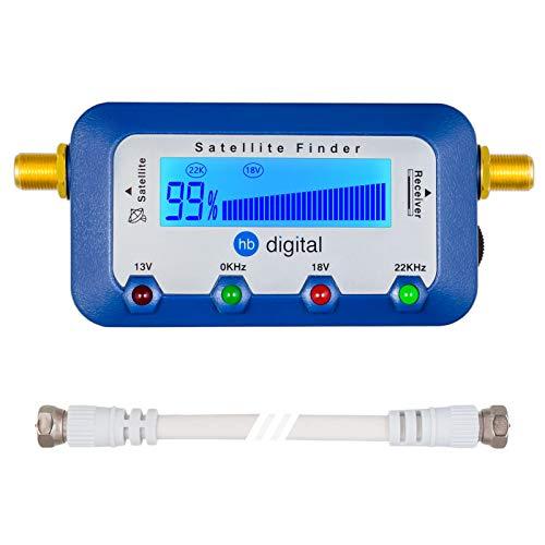 HB DIGITAL SATFINDER mit digitaler LCD Anzeige und Tonsignal + F-Verbindungskabel + Deutsche Anleitung Sat-Finder