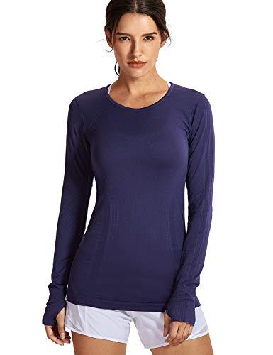 SYROKAN Damen Sport Shirt Langärmliges Funktionsshirt Fitness-T-Shirts,Nahtlos und leicht Marine XXS(34)