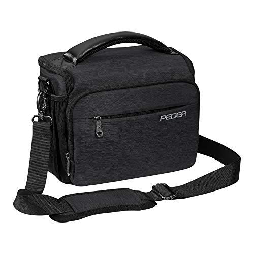 PEDEA DSLR-Kameratasche 'Noble' Fototasche für Spiegelreflexkameras mit wasserdichtem Regenschutz, Tragegurt und Zubehörfächern, Gr. XL anthrazit