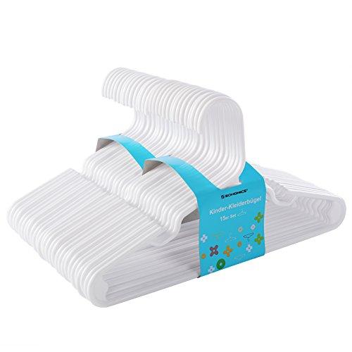 SONGMICS Kleiderbügel-Kinder 30 Stück aus hochwertigem Kunststoff mit vertieften Kerben mit verstärkten Enden, rutschfest 29,5 cm weiß CRP06W-30