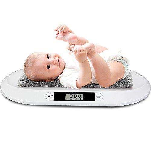 Monzana Babywaage Waage Digitalwaage Baby 20kg/10g Kinderwaage inkl. Batterien 55x32x4cm Abschalt- +Tarierfunktion LED-Anzeige flach