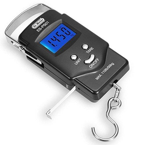 [Hintergrundbeleuchtetes LCD Display] Dr.Meter PS01 110 lb/50 kg Elektronische Waage Digital Fischen Paket Gepäckstücke Aufhänge-Haken Waage mit Maßband, 2 AAA Batterien enthalten