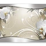 murando - Fototapete Blumen 400x280 cm - Vlies Tapete - Moderne Wanddeko - Design Tapete - Wandtapete - Wand Dekoration - Blume weiß grau silber beige Orchidee Ornament Abstrakt b-A-0078-a-c