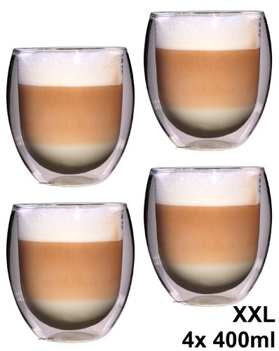 Feelino 4x 400ml 'Rondo' XXL doppelwandiges Teeglas / Kaffeeglas, edle und extra große Thermogläser mit Schwebe-Effekt in Geschenkkartons