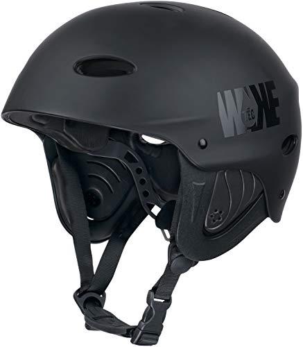 WAKETEC Helm WK8, Leichter Wassersport Helm mit Ohrenschutz für Wake- und Kiteboarden, Kanu- und Kajakfahren, anpassbar mit Drehradverstellsystem, CE EN 1385, Farbe:schwarz, Kopfumfang:55.5-58 cm