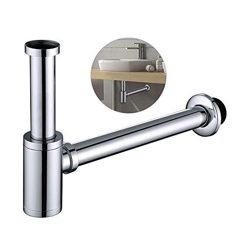 Homelody Edelstahl Siphon Geruchverschluss 1 1/4' für Waschbecken, zylindrische Form verchromt