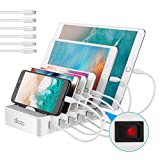 allcaca USB Ladestation 6-Port Dockingstation für Smartphone Kindle Amazon Fire Tablet, 6 Kabel Included, Weiß
