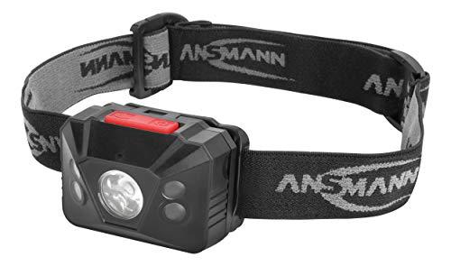 ANSMANN LED Stirnlampe HD150BS mit Gestensteuerung inkl. Batterien - Profi LED Arbeitsleuchte mit 150 Lumen - Kopflampe LED mit Sensor ideal zum Radfahren Laufen mit Hund Joggen Angeln Werkstatt Jagd