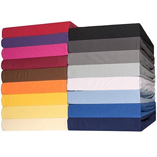Spannbettlaken Jersey Baumwolle 140x200 - 160x200 cm Spannbetttuch für Standardmatratzen CelinaTex 0002793 Lucina dunkel-grau
