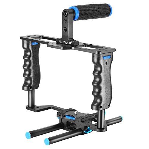 Neewer Aluminium Legierung Kamera Video Cage Film Movie Making-Kit enthalten: (1) Video Cage (1) Top Handle Grip (2) 15mm Rod für DSLR-Kameras wie Canon 5D Mark II III 700D 650D Nikon D7200Pentax Sony Olympus