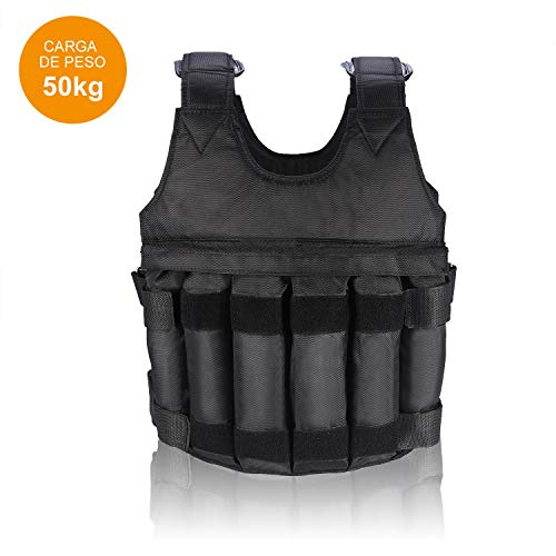 VGEBY1 Gewichtsweste, 50KG Verstellbare Krafttraining Weight Vest Trainingsweste Training Fitness Sport Jacke Jacket für Herren Damen Sand Weste Laufen Joggen