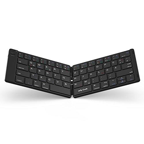 Bluetooth Tastatur, Jelly Comb Kabellose Mini Wiederaufladbare Faltbare Ultra Slim Tastatur, Deutsches Layout QWERTZ für Handy, Tablets und Smartphone mit iOS/Windows/Android, Schwarz