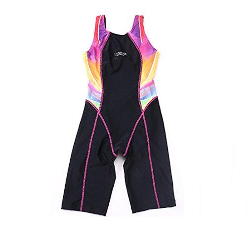 GWELL Kinder Badeanzug Wettkampf Einteilige Schwimmanzug Ärmellose Tauchanzug für Mädchen Jungen rosa 176