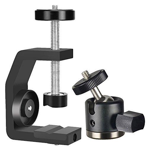 UTEBIT C-Klemme Foto mit Kamera Kugelkopf Set Max Offene 60mm Super Clamp Klemmestativ 360° Drehbar Ball Head mit 1/4'' Schraube für Lampenstativ / DSLR Kamera Stativ / Einbeinstativ/ Mehr