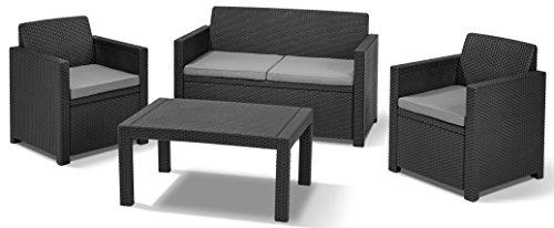 Allibert Lounge Set in Rattanoptik, Merano (2 Sessel, 1 Sofa, 1 Tisch), stabiles Kunststoff , grafit