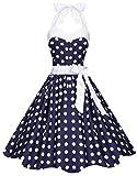 Zarlena Damen 50er Retro Rockabilly Pola Dots Petticoat Neckholder Kleid Navyblau mit weissen Dots Large 4250647201506k
