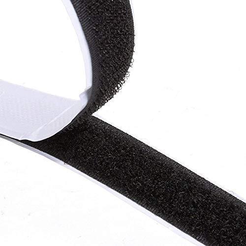 Doppelseitig Klebende,8M Extra Stark Klettverschluss Klettband Selbstklebend Langfristige Selbstklebendes Klettband Doppelseitiges Klebeband Klebepad Flauschband Hakenband, 20mm Breit Schwarz