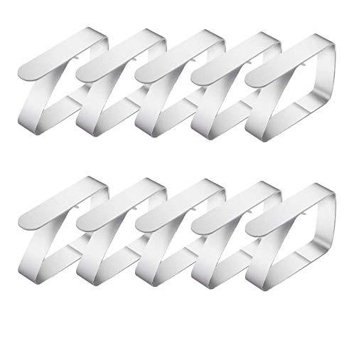 Onlyesh 10 Stück Tischtuchklammern Edelstahl, Tischtuchklammern Tischdecke Clips Tischdeckenklammer EINWEG