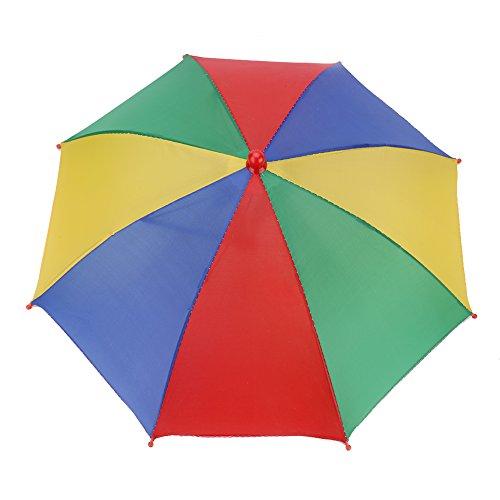 VGEBY1 Regenschirmhut, Faltbarer Sonnenschirm Regenschirm kopfschirm Hut für Outdoor-Aktivitäten Golf Angeln Camping(Tricolor und Gelb)