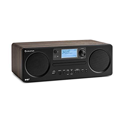 auna Worldwide CD • Internetradio • mit Bluetooth • DAB/DAB+ • MP3-fähiger USB-Port • mit CD Player • Spotify Connect • AUX • App Control • Multiroom-Funktion • Timer • walnuss