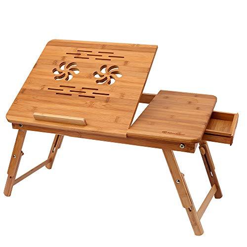 Athomestore Bambus Höhenverstellbarer Laptoptisch mit Schublade, klappbarer Notebooktisch aus Bambus, Betttisch für Lesen oder Frühstücks, Zeichentisch und Esstisch für Bett 55 x (22.8-31) x 35 cm