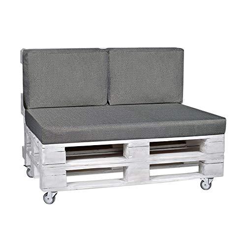 RS Trade Outdoor Palettenkissen-Set 3-teilig, 1x Sitzpolster, 2X Rückenkissen für Europaletten, Polster Bezüge Wasser- und schmutzabweisend - Maße Sitzkissen: 120x80x10 cm, Rückenpolster: 60x40x15 cm