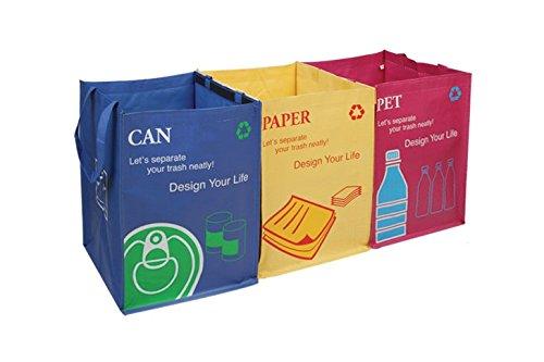 Recycling-Taschen Abfalltrenner mit praktischem Transportgriff Klettband Aufkleber Recycle Bins …