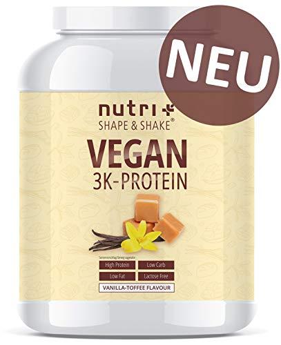 PROTEIN VEGAN Vanilla Toffee 1kg | 80,8% Eiweiß | 3k-Proteinpulver Vanille Karamell | laktosefreies Eiweißpulver Low-Carb | Nutri-Plus Shape & Shake | hergestellt in Deutschland