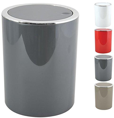 MSV Bad Serie 'ASPEN' Design Kosmetikeimer Bad Treteimer Schwingdeckeleimer Abfallbehälter mit Schwingdeckel 6 Liter (ØxH): ca. 18,5 x 26 cm Grau