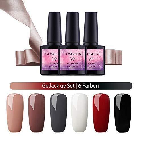 Saint-Acior UV Nagellack Sets 6pc Gellacken UV Gel Farbgel 8ml Nagelgel Led Gel-Lack Set