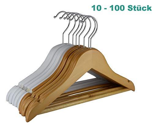 RSR Hangers 10 Stück Kinderbügel Holz Kinder Kleiderbügel Holz Natur | Kinderbügel | Babybügel | Garderobenbügel | Hosenbügel | Hemdenbügel | Blusenbügel | ver. Mengen&Farben