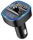 Bovon Bluetooth FM Transmitter Auto Radio Adapter, Auto Ladegerät mit 2 USB Anschlüsse und Freisprecheinrichtung, [mit Blauem Umgebungslicht], Unterstützt SD Karte & USB-Stick (Schwarz)