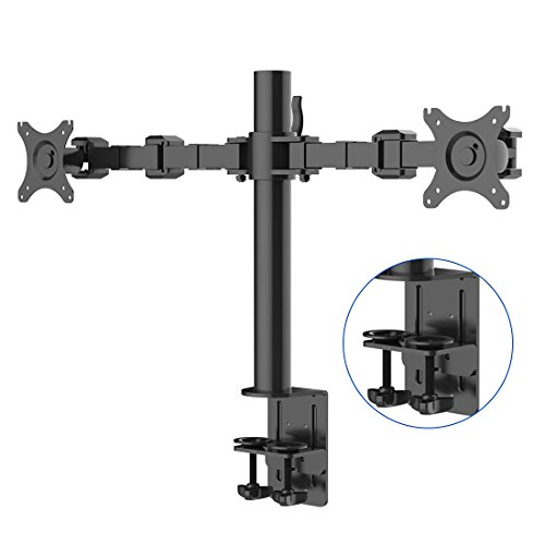 Fleximounts D1D Monitorhalter Tischhalterung Standfuß mit 2 Armen für 2 Monitore 10'-27'(25-68cm) LCD LED TV Bildschirme Flachbildschirm, Belastbarkeit:10 kg/pro Monitor, neigbar, schwenkbar 360°, höhenverstellbar