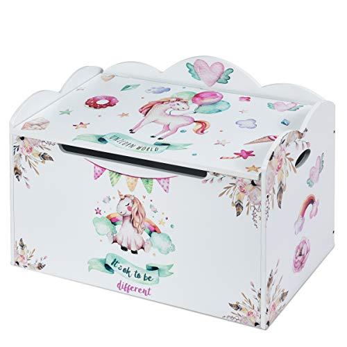 COSTWAY Spielzeugkiste mit Deckel, Spielzeugbox Kinder, Spielkiste Aufbewahrungsbox Kindermöbel, Farbewahl (weiß)
