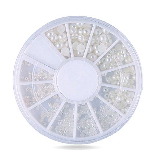 ROSENICE 200 Stücke / Box Mischgrößen Flache Rückseite Perlen Nagel Dekoration Perle Cabochons 2mm / 3mm (Weiß)