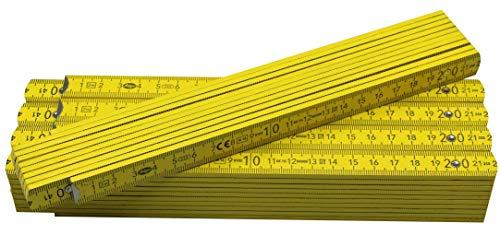 5 Stück Adga 250 plus Qualitäts Zollstock 2m mit Winkelskala (30°/60°/90°) und 90/180 Grad Winkeleinrastung, gelb, ohne Werbeaufdruck (5)