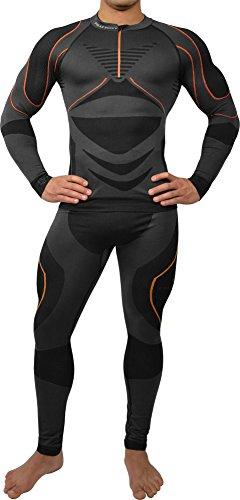 Polar Husky Sport Funktionswäsche Herren Set (Hemd + Hose) Seamless Ski-, Thermo- & Funktionswäsche - Funktionsunterwäsche in versch. Farben Farbe Schwarz/Orange Größe L/XL