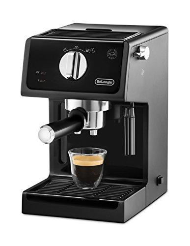 De'Longhi ECP 31.21 Espresso Siebträgermaschine   Siebträgerhalter mit Aluminium Finish   Milchschaum Düse   Filtereinsatz für 1 oder 2 Tassen Espresso   Auch für Pads Geeignet   Schwarz