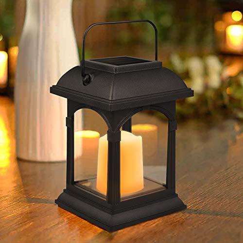 Solar Laterne mit LED Kerze, Nasharia Solarlaterne und Kerze für Außen Flackereffekt Solar Led Laterne mit Kerzen Dekoration Lampen für Garten Terassen Haus Wand Weg Auffahrt Rasen