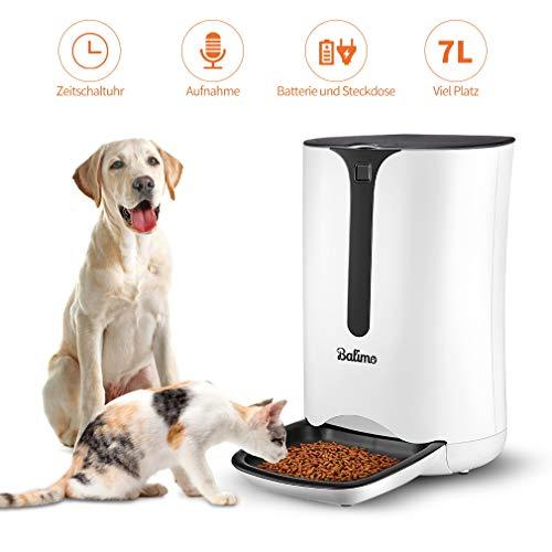 Balimo Smart Futterautomat für Katze und Hund, Automatischer Futterspender mit Timer für bis zu 4 Mahlzeiten pro Tag, Verteilungsalarm, Portionssteuerung, Ton-Aufnahmefunktion, 7L, Weiß