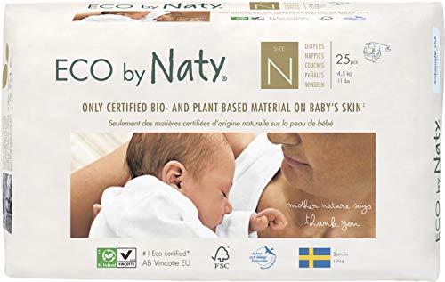 Eco by Naty Premium Bio-Windeln für empfindliche Haut, Größe Newborn - 4, 5 kg, 4 Packungen à 25 Stück (100 Stück insgesamt), weiß