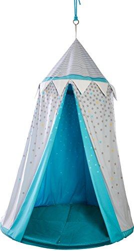 HABA 303859 - Hängezelt Sternenhimmel   Bezauberndes Zubehör fürs Kinderzimmer   Mit gepolsteter Bodenmatte