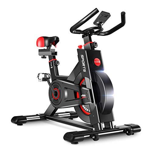 Dripex Ergometer Heimtrainer Fahrrad Fitness Bikes, Studioqualität mit Pulsmesser, Stufenlose Widerstandseinstellung, großes Trägheitsschwungrad, Benutzergewicht bis 150kg