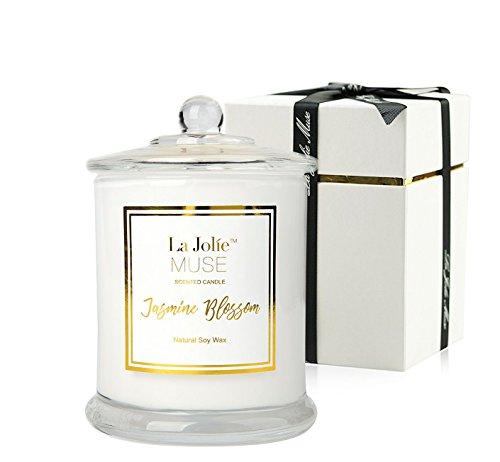 Duftkerze im Glas Jasmin Duft 100%Sojawachs groß Aromatherapie Kerze 55Std Geschenkbox