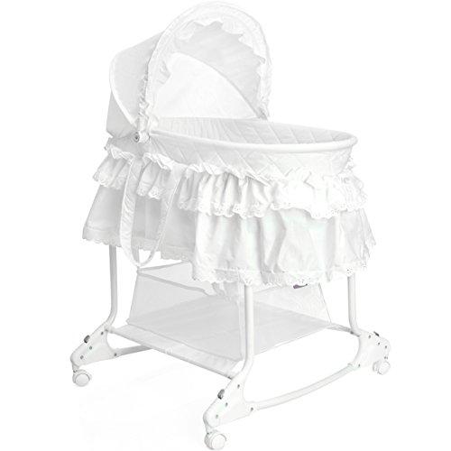 Babywiege / Stubenwagen mit Schaukelfunktion (Abnehmbarer Babykorb) (Weiß)