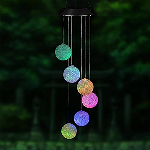 Solarbetriebene LED Windspiel, tragbar Farbwechsel Spirale Spinner Windspiel Outdoor Deko Windbell Licht für Garten Terrasse, Deck, Hof