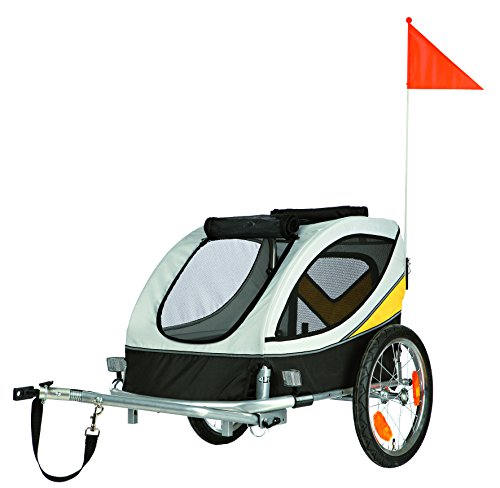 Trixie 12805 Fahrrad-Anhänger, M, 45 x 48 x 74 cm, grau/schwarz/gelb